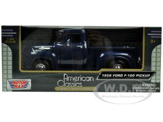 1956 Ford F 100 Pickup Blue 1 24 Diecast Model Car