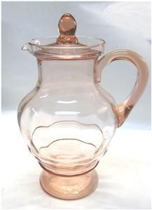Pink 1930s Depression Glass Covered Lemonade Pitcher Deco Ripples