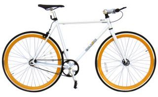 Bike Fixie Bike Road Bicycle 54cm White w Deep 43mm Orange Rims