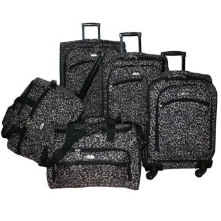 American Flyer Animal Print 5 Piece Spinner Luggage Set Black Leopard