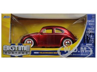 1959 Volkswagen Beetle with Baby Moon Wheels Metallic Red 1 24 by Jada