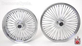 Set of Chrome Fat Mammoth Wheels 21x2 15 18x5 5 48 Spokes 200 Fits