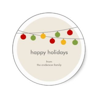 Modern Holiday Christmas Ornaments Gift Tag Stickers
