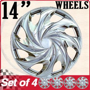 14 Inch Fit Hub Caps Chrome Lug Full Skin Rim Cover for Steel Wheel