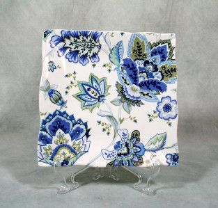 222 Fifth Mirabelle Square Salad Plate Blue Floral New