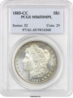 Proof Like 1885 CC $1 Morgan PCGS MS65 DMPL Gem Carson City Silver