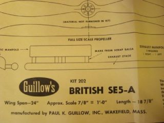 Guillows British s E 5A Model Airplane Kit Kit 202