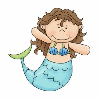 Cute Brunette Mermaid Girl Fish Design Photo Cutouts