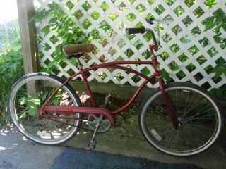 Vtg Red 70s Columbia Clipper Bike Bicycle Sport Huffy Seat Men Custom