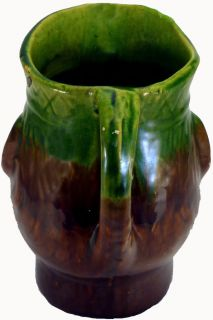 Vintage Bennington Art Pottery Green Brown 8 Toby Face Jug Pitcher as