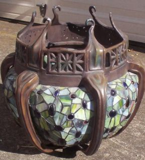 Art Nouveau Arts and Crafts Pendant Stained Glass Lamp