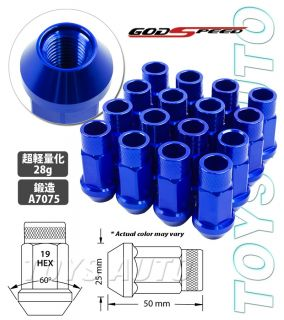 16 Blue GSP 12x1 25 50mm Forged Rim Wheel Tuner Lug Nut