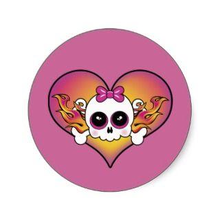 Cute Skull Heart Sticker