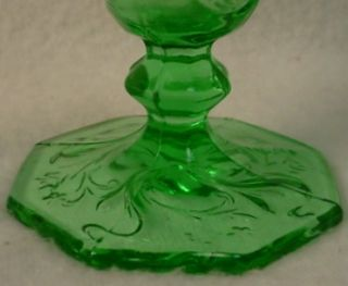 McKee Glass Rock Crystal Flower Green Low Water Goblet 5 3 4