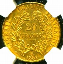 1851 A France Ceres Gold Coin 20 Francs NGC Cert Genuine AU 58 Scarce
