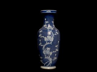 Large Chinese Antique 18th C Blue and White Flower Rouleau Vase Signed