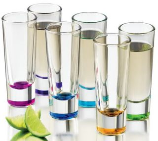 Libbey Troyano Colors Shooter 2 Ounce Tall Shot Glasses 6 Piece Set