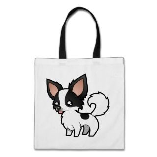 Cartoon Chihuahua (black parti long coat) bags by SugarVsSpice