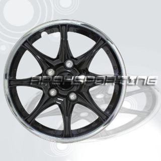 Set of 4 Black Chrome 15 Hubcaps Rim Wheel Covers Center Hub Caps