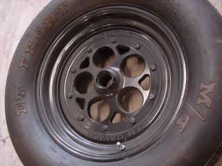 Used Black Weld Racing Magnum Anglia Spindle Mount Drag Wheels 15x3 5