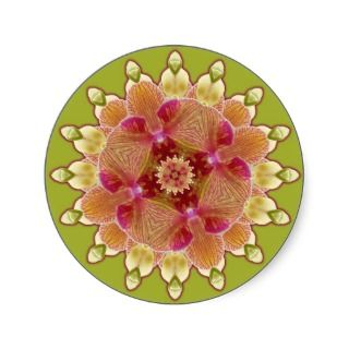 Pink and Green Orchid Mandala Round Stickers