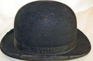 Original Antique Vtg Black Bowler Derby Mens Hat Size 7