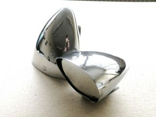 Original Les Leston Classic Chrome Racing Wing Mirror Set Pair X2