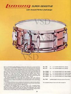 1976VINTAGE Ludwig USA14x5Super Sensitive Snare Drum