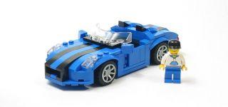 Lego Custom Blue Sports Car w/ Black City Town 10211 8402 10185 10224