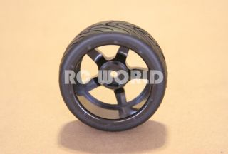 RC 1 10 Car Tires Wheels Rims Package Tamiya HPI Black 5 Star Semi