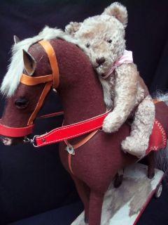 ANTIQUE TEDDY BEAR 1940s MOHAIR w. ANTIQUE ROCKING HORSE 1920 cheval