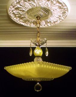 30s Deco Lemon Drop w Vaseline Glass Stem Ceiling Light Fixture