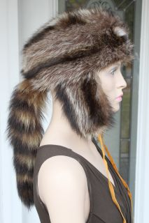 Silver Tip Raccoon Fur Hat w Head Tail for Men Women