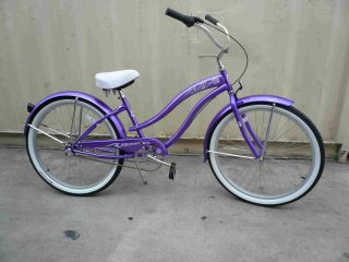 26 3 Speed Beach Cruiser Bicycle Bike Rover Lady Purple