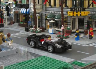 Lego Custom Black Mid Engine Sports Car City Town Racers 10224 8214