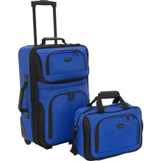 US Traveler Rio Two Piece Expandable Carry on Luggage Set Royal Blue