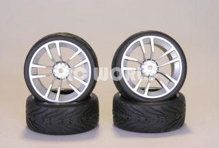 RC 1 10 Car Tires Silver Wheels Rims Package Kyosho Tamiya HPI