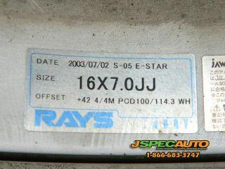 JDM VOLK RACING S 05 EUROSTAR WHEELS 16X7 +42 4X100 4X114 W/ 205/45R16