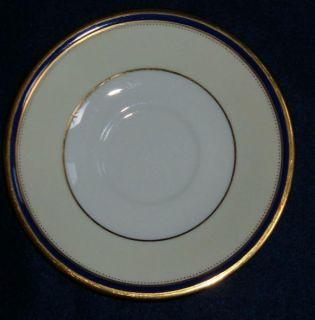 Pattern Cobalt Blue and Gold Rim Cream Soup Bowls w Saucer