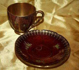 Antique 1930s Carlton Ware Cup and Saucer Demitasse Set New Stork