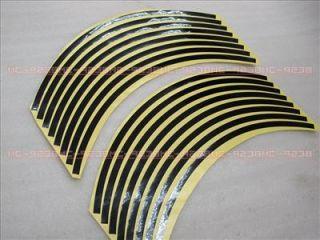 Rims Sticker Wheel Stripe Tapes 17 Black for Motor