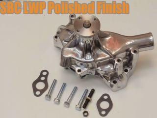 SBC Chevy Long Polished Aluminum Water Pump Satin High Volume