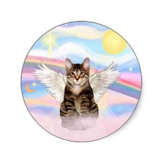 Tabby Tiger Cat Angel in Clouds Sticker