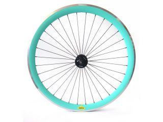 Espresso Deep V Track Fixie Bike Wheels w Joytech Hubs Aqua