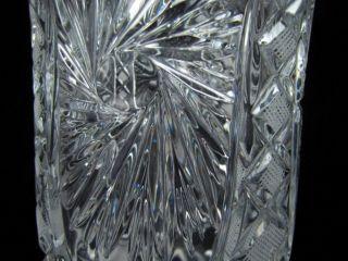 Vintage American Clear Cut Glass Starburst Diamond Pattern Vase 11 5