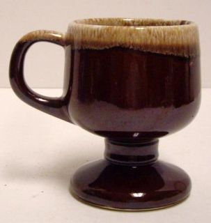 Vintage McCoy Glazed Brown Drip Pedestal Coffee Tea Mug Cup 7075 USA