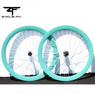 Light Blue Fixed Gear Fixie Bike Bicycle 50mm Deep V Wheelset Wheel