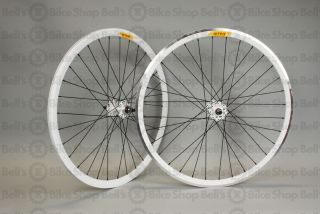 Velocity Deep V Track Wheels White Black Fixed Gear Front Machined