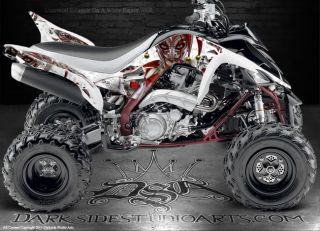 Yamaha Raptor 700 ATV Graphics The Jesters Grin White Model