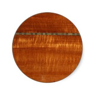 Golden wood grain with inlay background round stickers